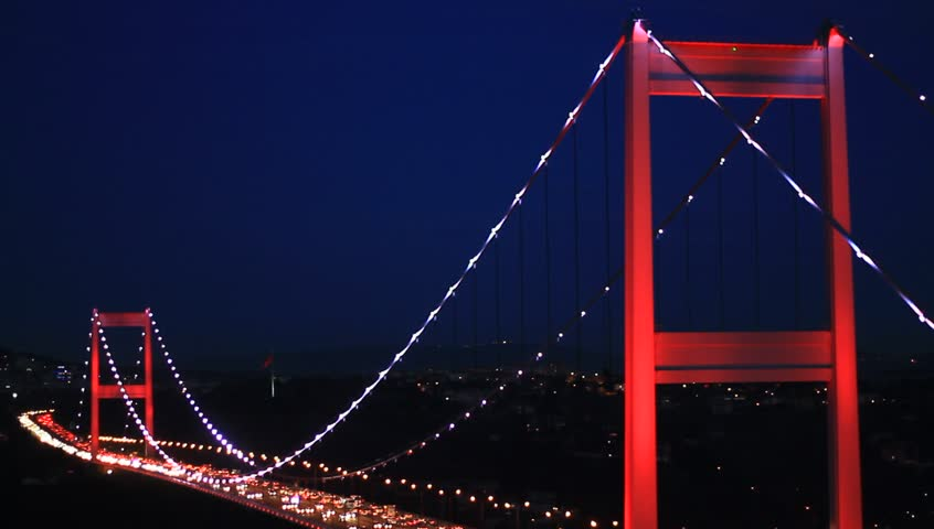 Fatih Sultan Mehmet Bridge. Smooth flowing, heavy traffic during rush hour on the bridge.
