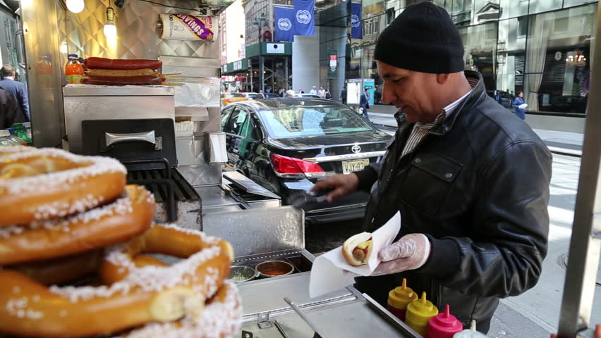 NEW YORK - APRIL 21, 2015: NY street hotdog counter