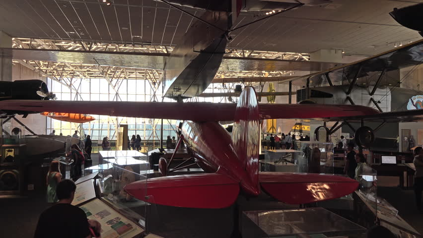 WASHINGTON DC - APR 2015: Washington DC Air and Space education aircraft display tourism 4k. Steven F. Udvar-Hazy. Free admission. Major tourism destination. One of a kind aircraft.
