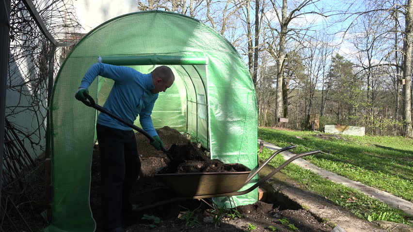 Male gardener with pitchfork load rotten compost humus to rusty wheelbarrow barrow from big box - Gardening works in october winter preparations ...
