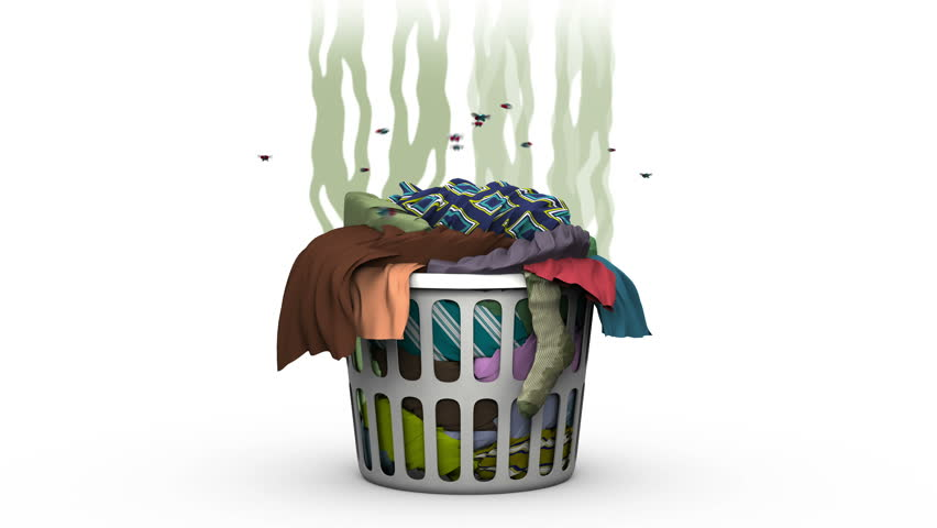 Dirty Laundry in the Basket. 3D animation. Alpha channel, loopable.
