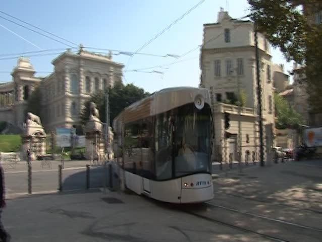 MARSEILE, FRANCE - OKTOBER 06: Modern tram RTM in the center of Marseille  on Oktober 06, 2011 in Marseille, France