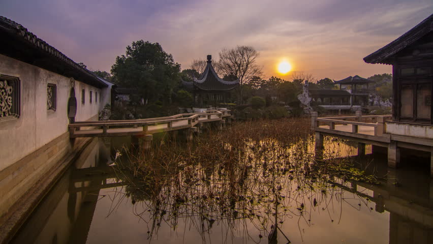 Time Lapse of Sunset in a Old Style Chinese Garden in Muduzhen, Suzhou, Jiangsu, China