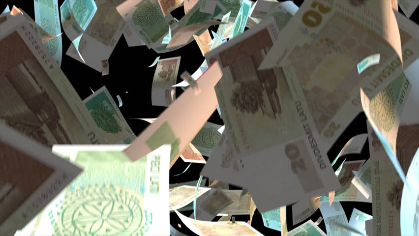 Falling Latvia money banknotes