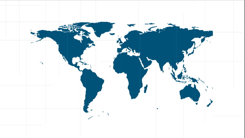Blue world map video animation with labels 1920x1080