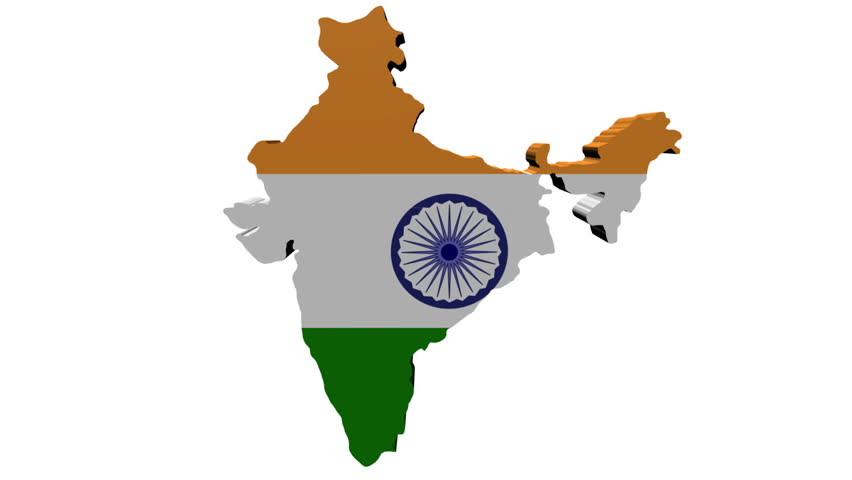 India Flag Map: India Map Flag With Container Ships Departing Animation