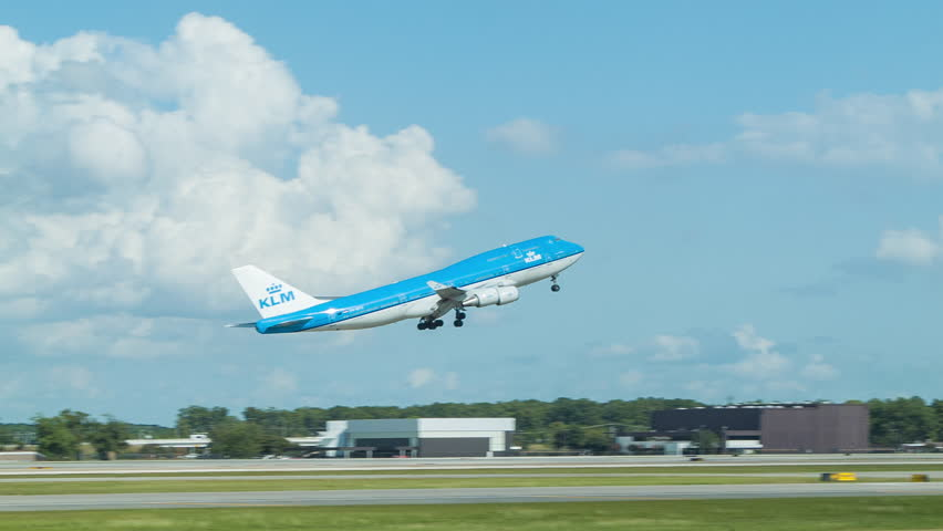 HOUSTON, TX - 2015: KLM Boeing 747 Taking-off from Houston TX George Bush Intercontinental Airport International Flight from Texas on a Sunny Day