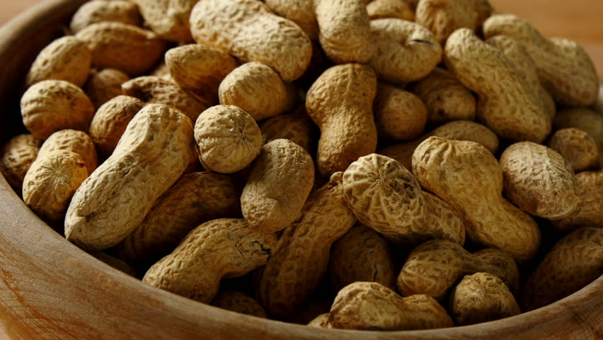 Peanuts in bowl, turning