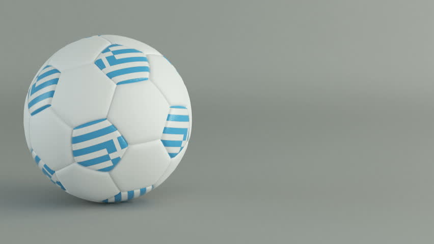 3D Render of spinning soccer ball with flag of Greece