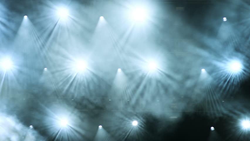 Concert stage. Shining  lights.