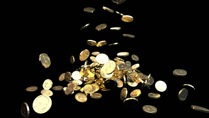 Gold coins fall against black background. Treasure. Business success.  - HD stock footage clip