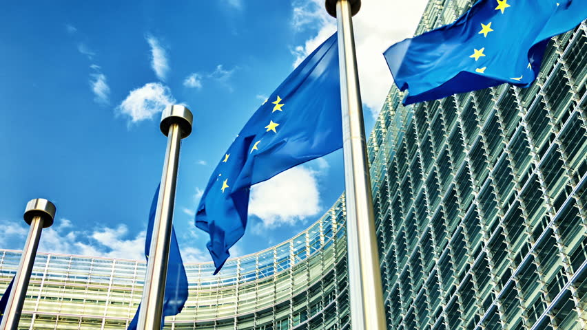 European Union flags waving in the wind in front of European Commission. Brussels, Belgium. Full HD, 1080p - HD stock video clip