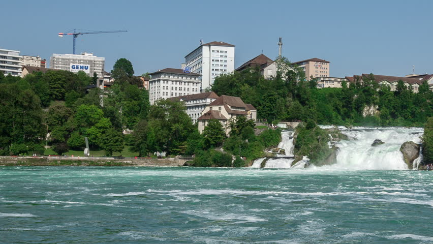View of the Rhine Falls being 450 ft wide and 75 ft high with a water flow of 700qm per second.  - HD stock footage clip