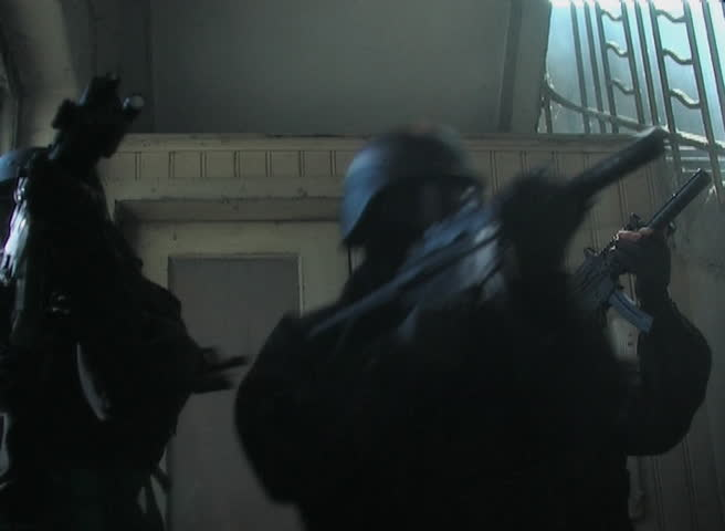 Special forces entering staircase