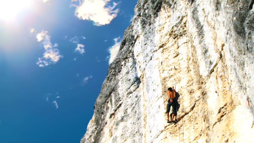 Climbing Man - HD stock video clip