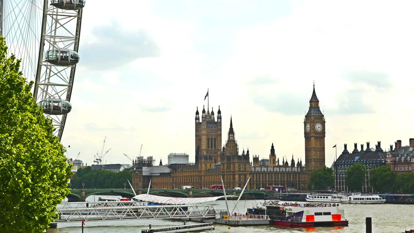 London sightseeings: London Eye, Big Ben, House of parliament and river Thames