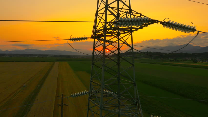 High Voltage Towers On Sunset Time Lapse. Stock Footage ...
