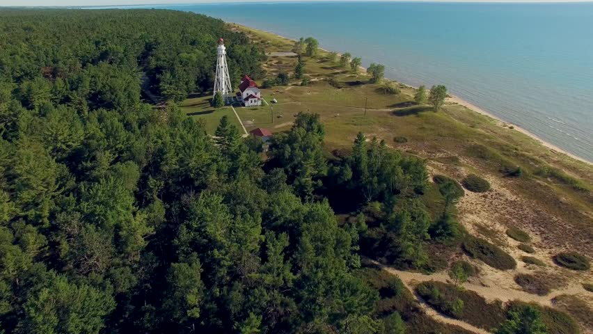 Scenic, Majestic Lighthouse at Rawley Point, Point Beach, Two Rivers, Wisconsin; Aerial View.