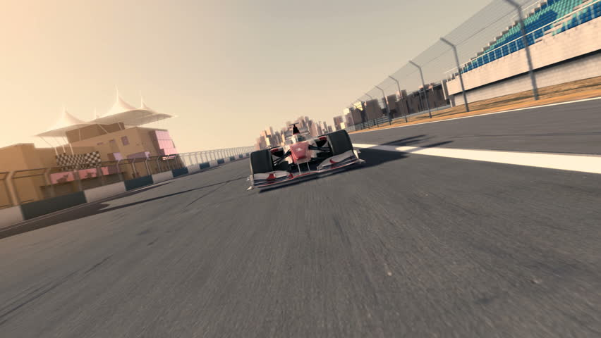 racecar speeding along the racetrack - frontal view - high quality 3d animation - HD stock video clip