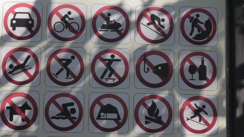 prohibiting signs - HD stock footage clip