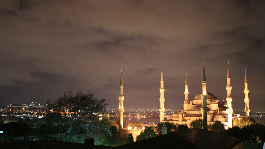 Time lapse Blue Mosque at night in Istanbul - HD stock footage clip