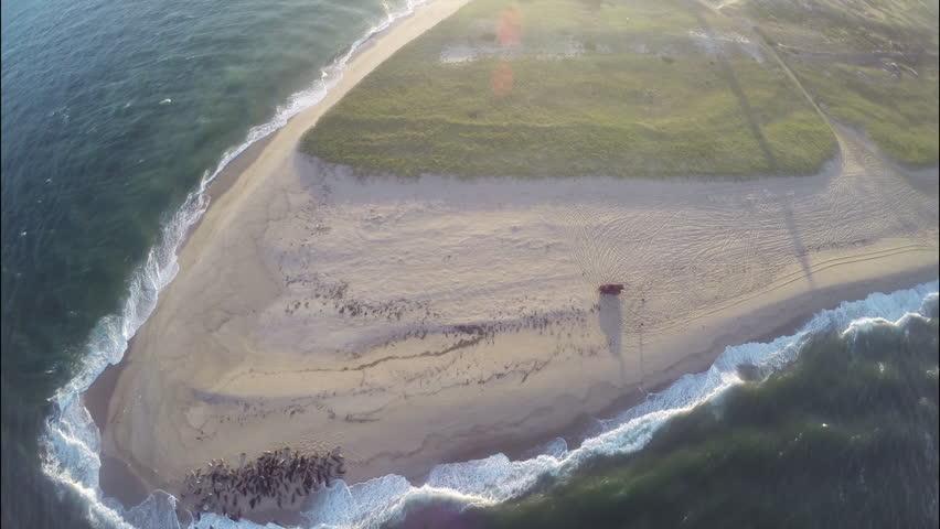 Nantucket aerial seascape. Aerial tilt up. Sunset seascape in Nantucket, Massachusetts. 1080p HD. - HD stock footage clip