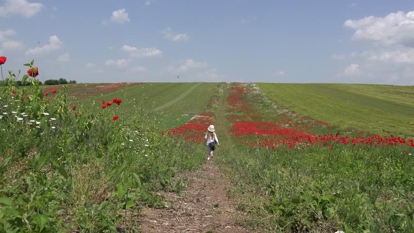4K Happy Little Girl Walking Poppy Flowers Field Playing Children Summer Nature Outdoor