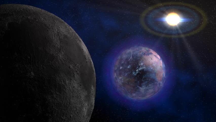 Moon, Earth, and sun. HD 1920x1080x29.97. Format: Photo-JPEG. Duration: 00:00:20:00.