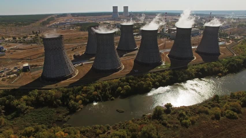 Cooling towers of nuclear power plant Aerial view - 4K stock footage clip