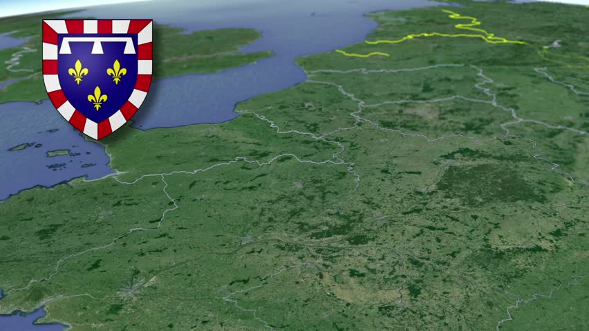 Centre-Val de Loire whit Coat of arms animation map Regions of France