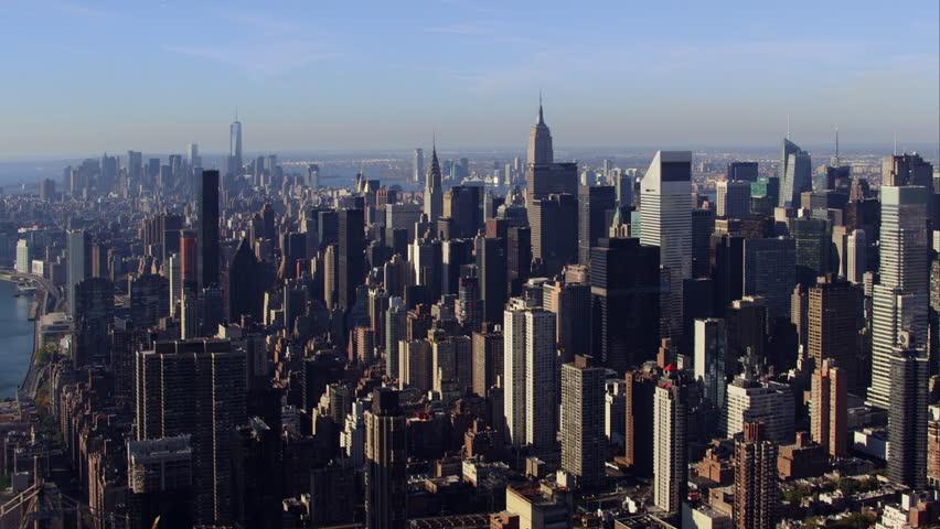 Aerial sunrise New York City skyline view of lower and Midtown Manhattan.