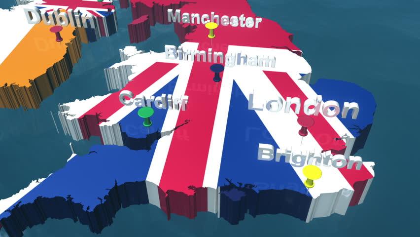 3D HD United Kingdom Map with Place Names, London, Birmingham, Manchester, Cardiff, Dublin, Glasgow, Edinburgh