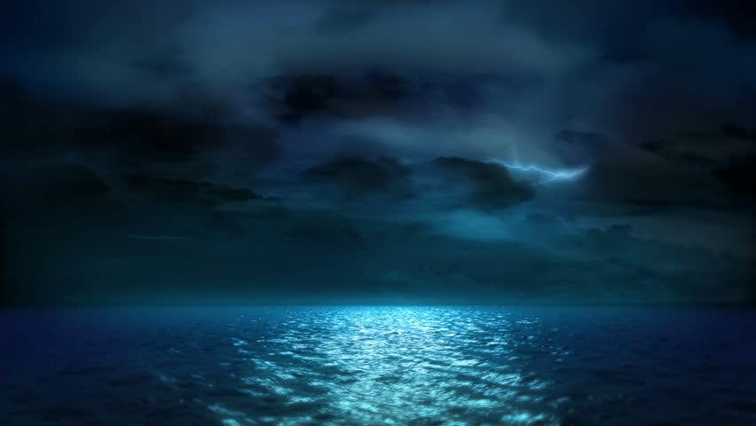 Ocean Moonlight Lightning and Clouds (Loop)