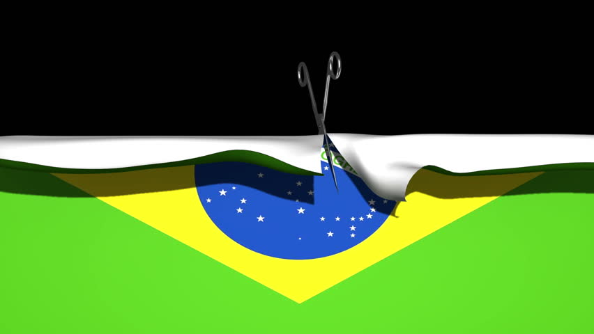 Chrome scissors appear at the to middle of the screen and proceed to cut straight down the middle of the Brazilian flag, revealing a solid black background. Also comes with the Alpha Matte.