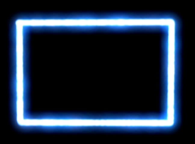 Glowing Energetic Blue Neon Rectangle Sequence With Matte