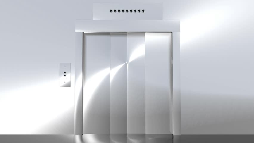 Computer generated animation of a modern elevator going up to green screen. High definition 1080p.