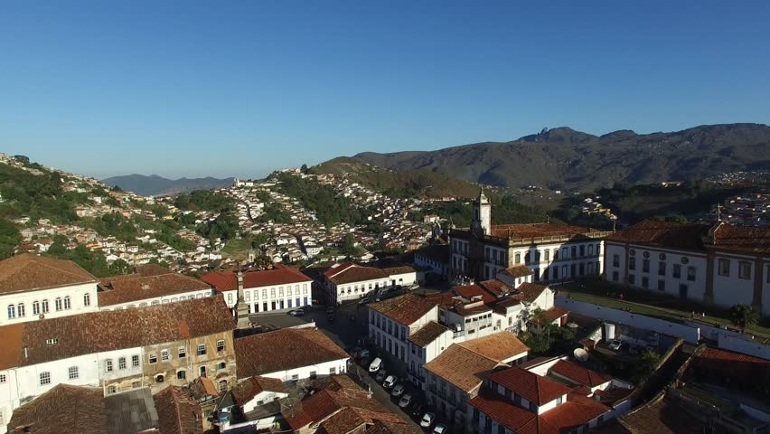 Aerial View of Ouro Preto city, Minas Gerais, Brazil - 4K stock footage clip