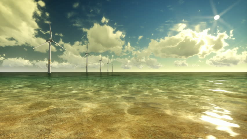 Wind Mills Off Shore and Time Lapse Clouds