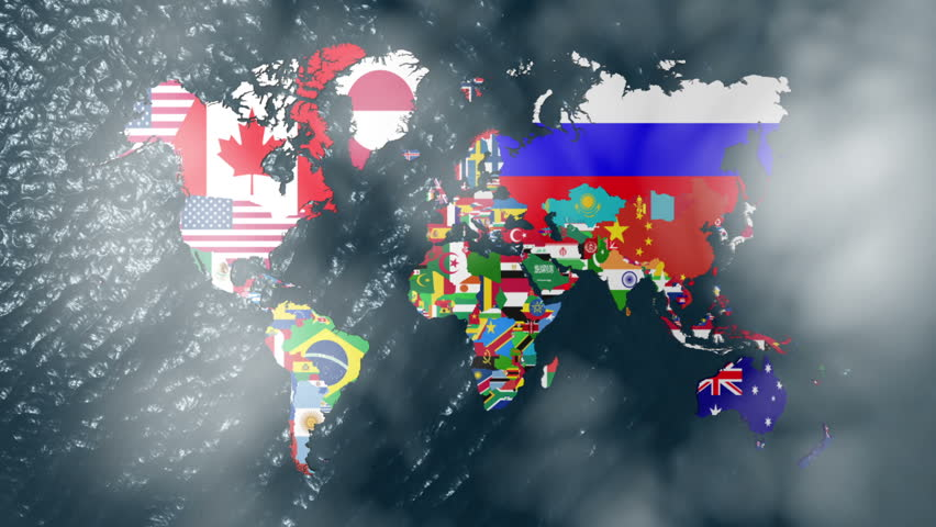 3D Flag World with a Slow Zoom to India with Clouds - HD stock footage clip