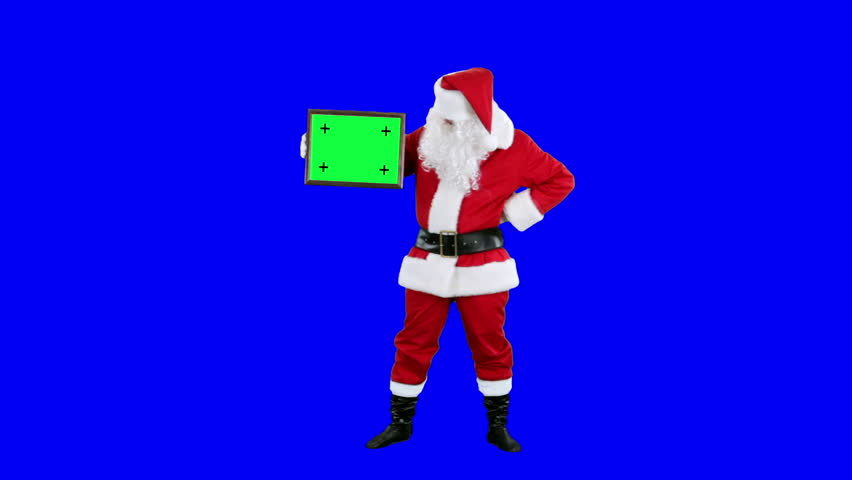 Santa Claus demonstrates frame for tracking chroma key (blue screen). Santa holds the frame in his hands