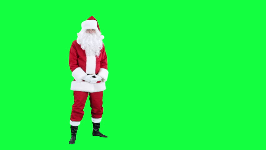 Sneezing Santa Claus chroma key (green screen). Santa fun sneezes isolated on green