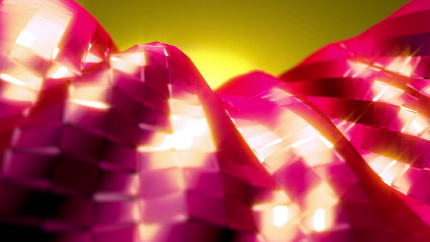 Abstract background with nice depth of field.  Red tiles flip around in place, turning to yellow in a wave across the screen and then flip back to the original position.  Comes with sparkle effect.