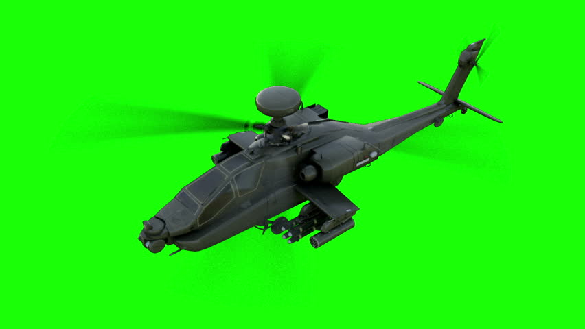 Military helicopter Boeing AH-64 Apache realistic 3d animation. Realistic reflections, shadows and motion. Green screen