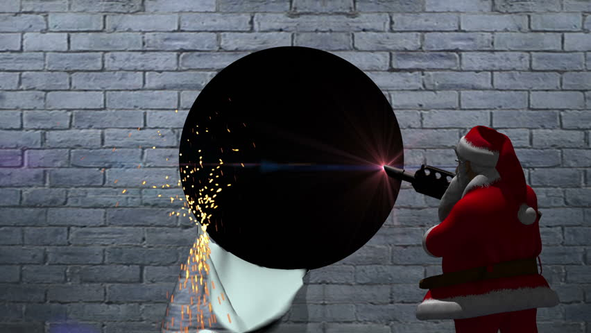 Santa character uses a laser to cut a circle in a wall. As he cuts, sparks flow from the area on the wall and a laser light twinkles.  The camera zooms into the black background to make a transition.