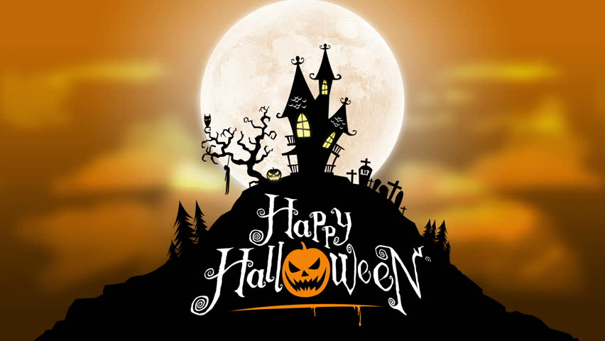 A spooky background of a haunted house with a full moon in the background.  The scene also features a bird with blinking eyes, flickering windows and pumpkins and a swinging hung corpse.