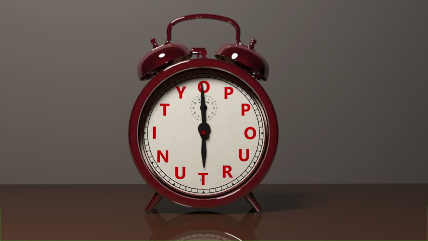 "A red old fashioned type of Alarm Clock with letters spelling out ""Oppourtunity"" goes off and rings moving the alarm clock off its' feet. When the alarm is on, a glowing effect is applied to the face."