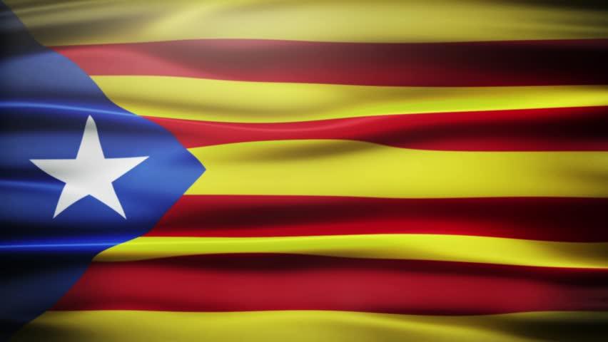 Waving Catalonian flag
