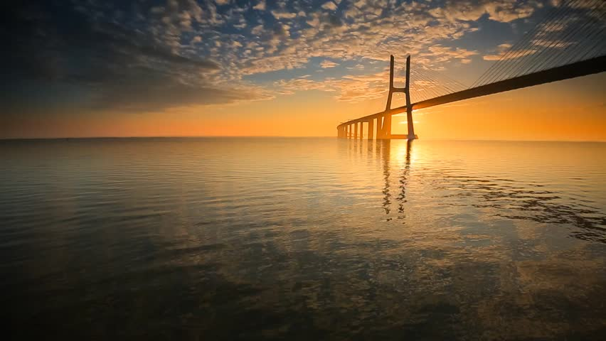 Cinemagraph Loop - Long bridge with sunset - motion photo - HD stock ... After The Sunset