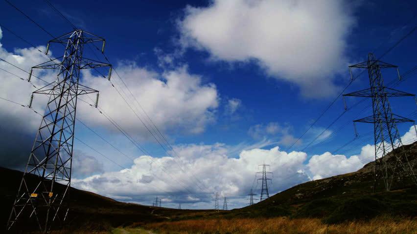 Electricity pylon energy time-lapse - HD stock footage clip