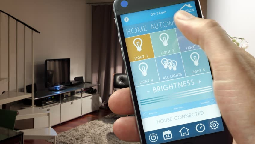Smart House Home Automation Device With App Icons Man